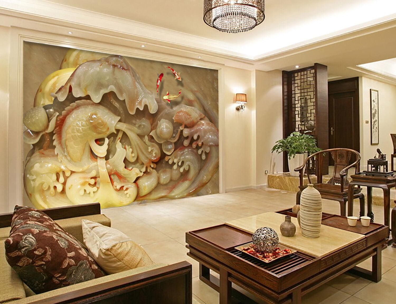 3D Emboss Koi 998 Wallpaper Mural Wall Print Wall Wallpaper Murals US Carly