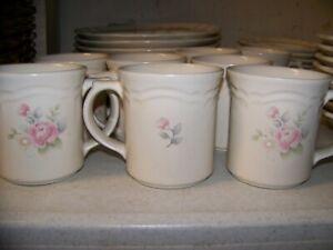 8-MUGS-4-034-Pfaltzgraff-Tea-Rose-PRISTINE-USA