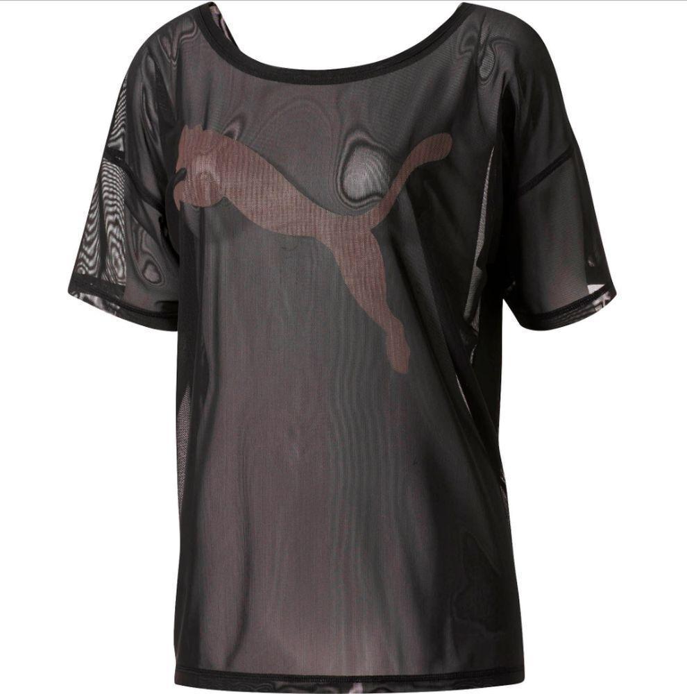 Puma Training Womens Ladies Dancer Sports Short Sleeve Mesh Tee T-Shirt Top Blac