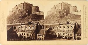 Scozia Edimburgo Château Grass Market, Foto Stereo Vintage Albumina PL62L3