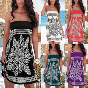 a3b230e727 Boho Womens Strapless Tube Bikini Cover Up Holiday Beach Sundress ...