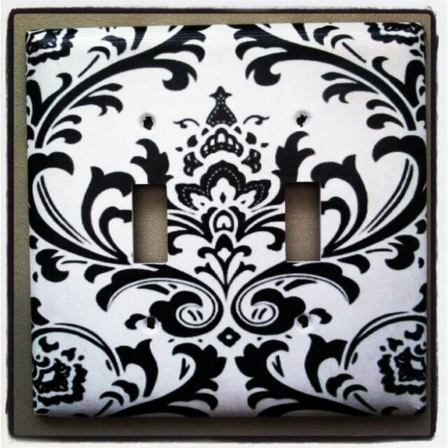 Black and White Damask Home Decor Custom Light Switch Plate Cover Choose Cover