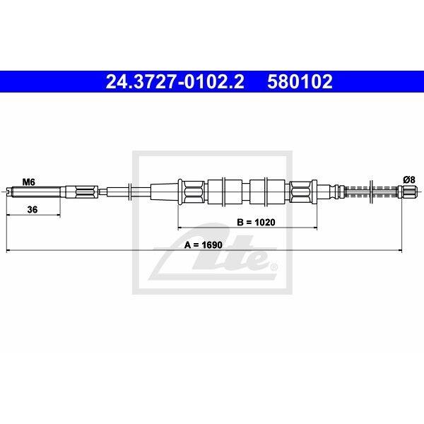 Handbremsseil Bremsseil Seilzug NEU ATE 24.3727-0102.2
