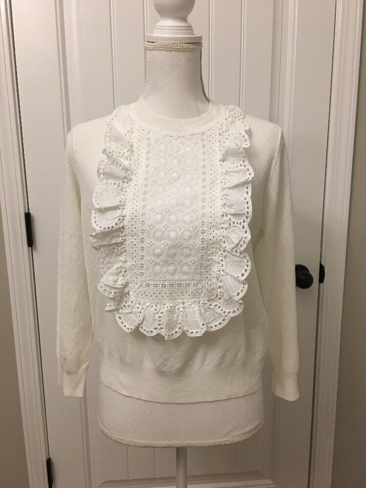 New J Crew Eyelet Sweater in Summerweight Cotton White Sz L G1290