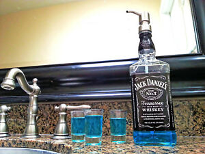 Image is loading Clear-Coat-Mouthwash-Dispenser-Jack-Daniels-Whiskey-Bottle-