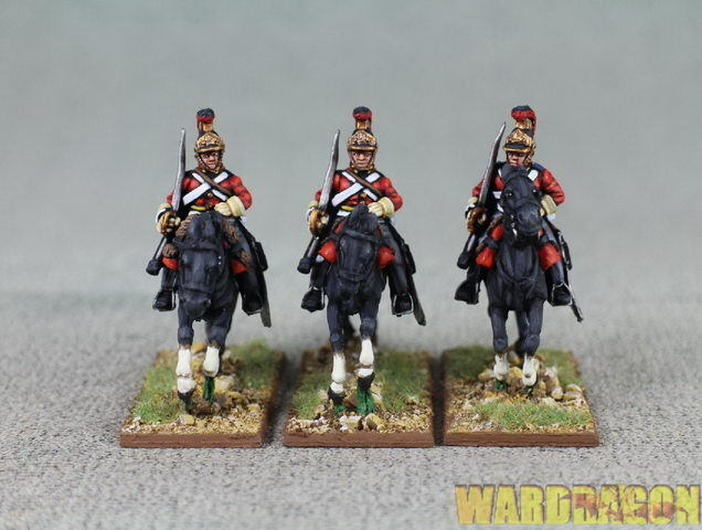 Painted British BH26 British Household Cavalry galloping,swords shouldered r10