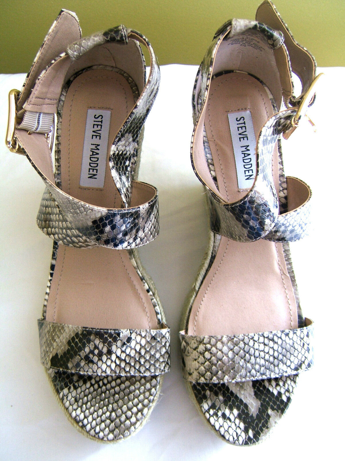 NEW Steve Madden Hot Snakeskin Rope Wedge Platform Sexy Heels Sandals 9.5 M  144