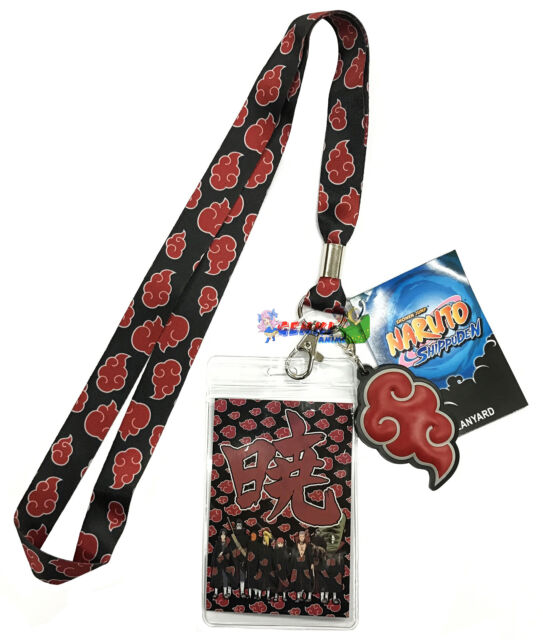 License Naruto Shippuden Akatsuki Cloud Badge ID Holder Charm Lanyard #82581