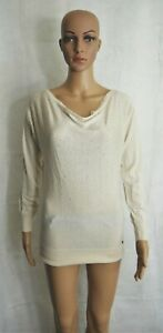 Guess-Womens-Cream-Ivory-Rhinestone-Embellished-Doleman-Sleeve-Sweater-Medium