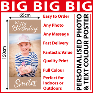 RETIREMENT GOOD LUCK BANNER POSTER LARGE ANY AGE PHOTO TEXT PERSONALISATION