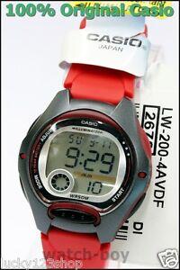 79ed0da88666 LW-200-4A Reloj de los niños Rojo Genuino Casio 10 años Batería Lift ...