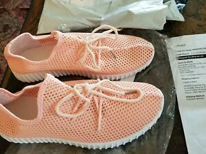 Women-039-s-Shoes-Sneakers-Mesh-Fabric-Lace-Up-Slip-On-Sneaker-Pink-New-size-10