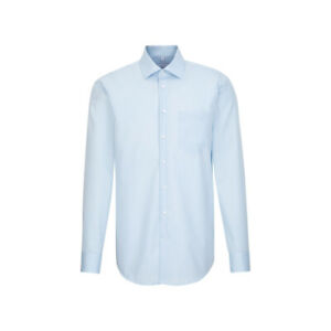 Seidensticker Mens Long Sleeve Business Shirt Regular Blue Fil à Fil Kent 197310.12