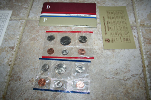 1984 US Coin Mint Set Flatpack 10 Coins 2 Kennedy Half Dollars Free Shipping 145