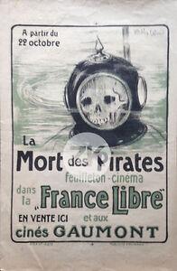LA-MORT-DES-PIRATES-WWI-Gaumont-SCAPHANDRIER-Film-Guerre-W-WOOD-Affiche-1918
