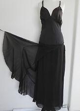 Miss Sixty Luxury Dress Maxi Tiered Layered Size M Dark Brown Silk/Chiffon