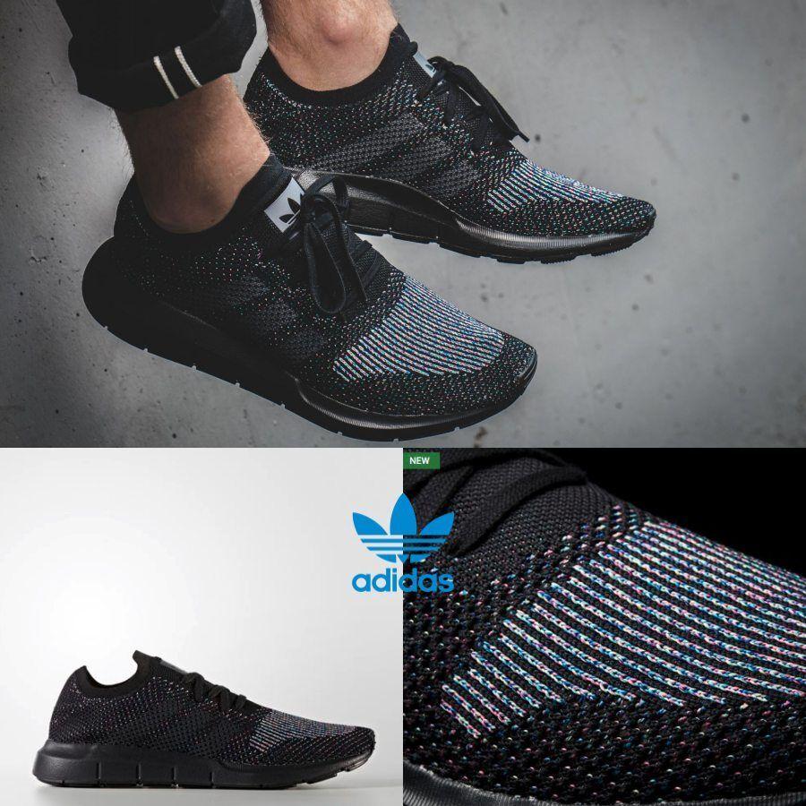 Adidas Unisex Swift Run PK Primeknit Black Black White CG4127 Size 4-11 Sneakers