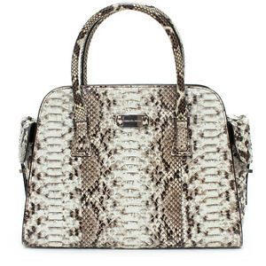 566157e965d4 MICHAEL KORS NEW Gia Satchel Python Auth Black White Leather Bag ...