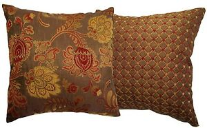 Burgundy Floral Throw Pillows : Burgundy and Gold Floral and Dotted Brocade Decorative Throw Pillow eBay