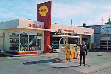 Vintage Shell Gas Service Station Googie Sign 1960's (photo print of postcard)