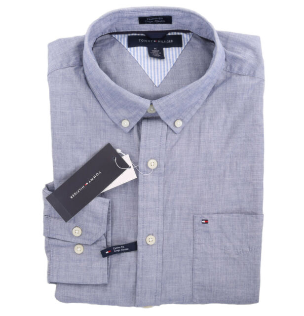 Tommy Hilfiger Men Long Sleeve Custom Fit Button Down Solid Shirt - Free $0 ship