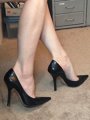black leather sz 7 pointy toe carrie stilettos high heels