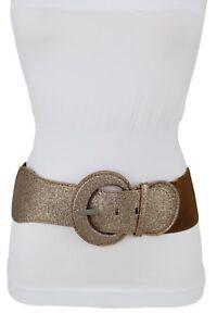 Women-Fashion-Metallic-Bronze-Sparkling-Glitter-Brown-Belt-Hip-Waist-Plus-M-L-XL