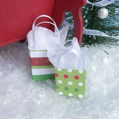 """Dollhouse Miniature Christmas Gift Bag Set Holiday Presents 1"""" Scale 1:12 Dots"""