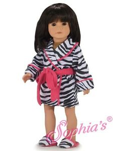3pc-Robe-Set-fits-American-Girl-18-inch-doll-clothes-Zebra-print-Robe-Slippers