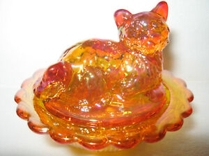 marigold-carnival-glass-salt-cellar-celt-dip-cat-kitten-on-nest-basket-dish-art