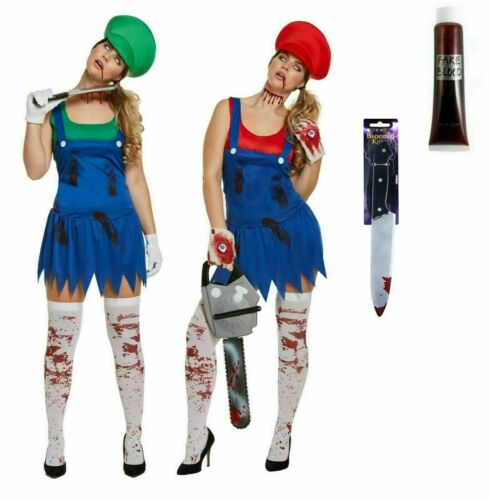 Nouveau Femme Halloween Zombie Travail Femmes Plombier Ghost Costume Horror Fancy Dress