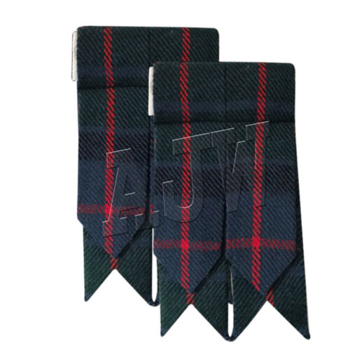 Scottish Kilt Sock Flashes various Tartans//Highland Kilt Hose Flashes pointed