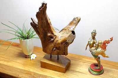 TEAK Wurzelholz Skulptur Treibholz Schwemmholz Aufsteller Deko Altholz  Rustikal