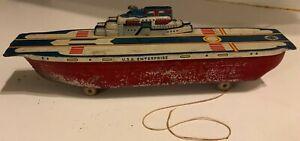 Antique-Metal-Tin-U-S-S-Enterprise-Boat-Ship-w-Wheels-Pull-Toy-RARE-HTF