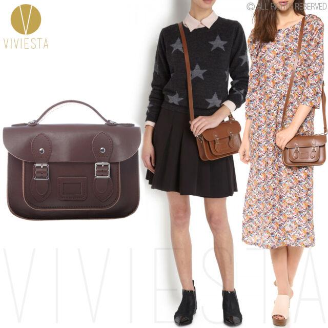 "8.5"" MINI BRITISH REAL GENUINE LEATHER SATCHEL BAG Women Brown CrossBody Handbag"