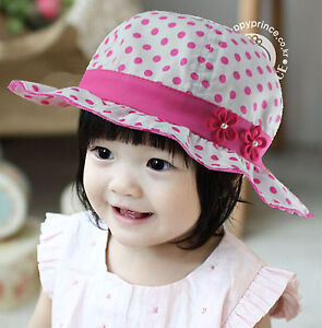 a5a7ba9007c Girls Children Kids Baby Pink Cotton Polka Dots flower Bucket Sun ...