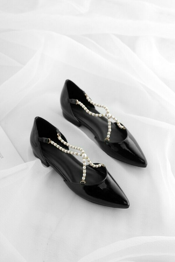 Sweet Pointed Toe Pearl Chain Decor Decor Decor Flats Womens shoes Cut Out Patent Leather Sz 2fe883