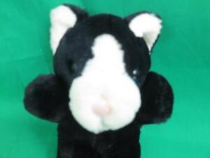VINTAGE-DAKIN-BLACK-WHITE-KITTY-CAT-PINK-NOSE-1989-PLUSH-STUFFED-ANIMAL
