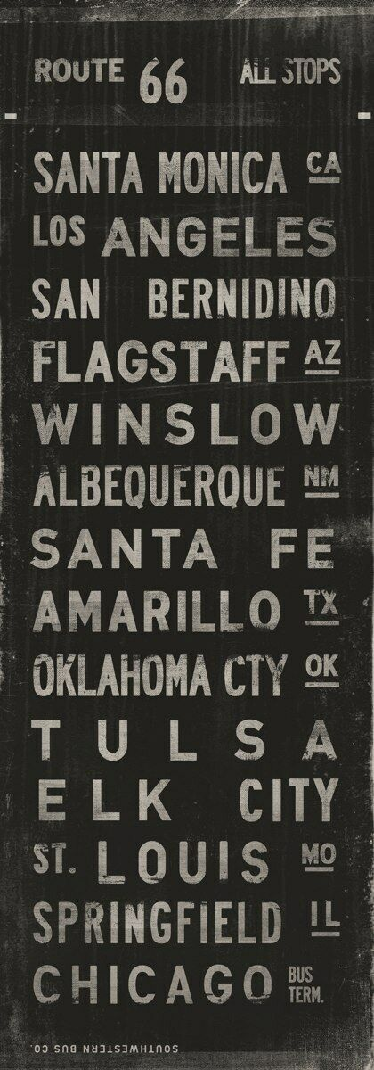 Route 66 by Luke Stockdale ART POSTER 60x20 AMERICANA ART PRINT