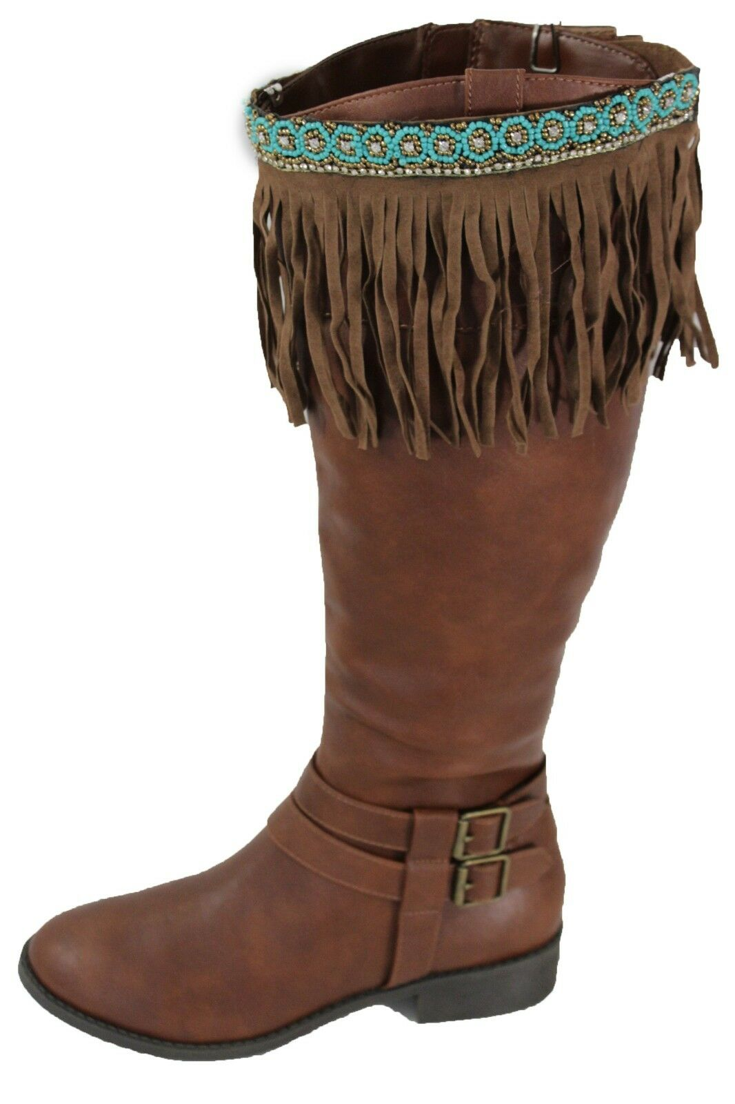 Western Women Boot Toppers Pair Brown Long Faux Leather Fringes Turquoise Beads
