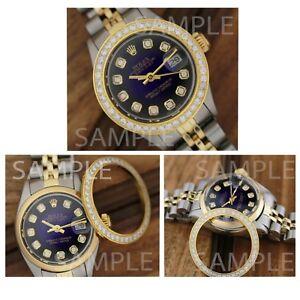 Rolex-Custom-Stainless-Steel-Yellow-Plated-Genuine-Diamond-Bezel-26mm