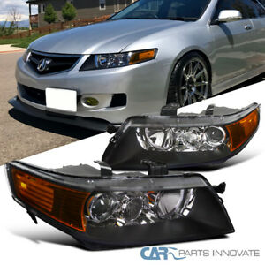 04 05 acura tsx 4dr sedan replacement black projector headlights rh ebay com Acura TSX Headlights Yellow Acura RL Headlight