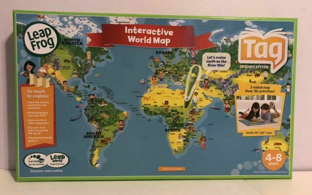 Leapfrog Interactive Us Map LeapFrog Interactive 2 Sided World Map Tag Reading System for sale