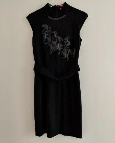 Vivienne Tam Chinese Zodiac Black Wool Dress Sz 0