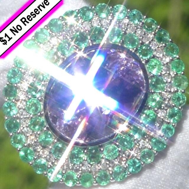 14k GOLD 26.35ct UNTREATED Kunzite Emerald Diamond Estate Vintage Cocktail Ring
