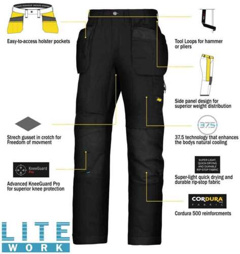 Snickers 6207 LiteWork Trousers Holster Pockets Mens Snickers Ripstop Black Pre