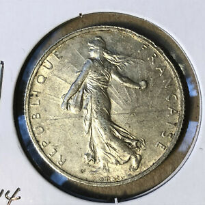 1914-France-2-Francs-Silver-Coin-UNC-BU-Condition