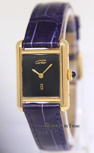 Cartier-Must-Tank-Vermeil-925-Gold-Plated-Silver-Black-Purple-Manual-Watch