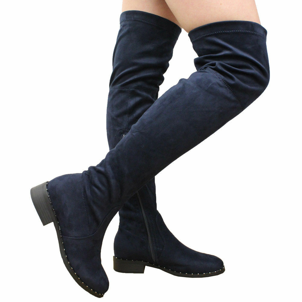 3499b1e8576 Ladies Womens Over The Knee BOOTS Thigh High Low Block Heel Stud ...