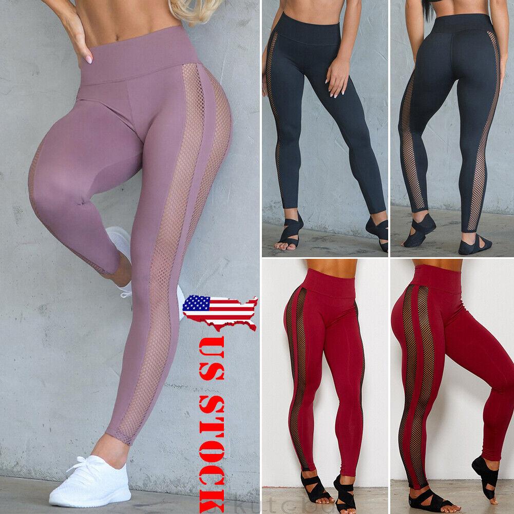 US Women's Leggings Mesh Yoga Apparel Workout Gym Fitness Trousers Sportswear